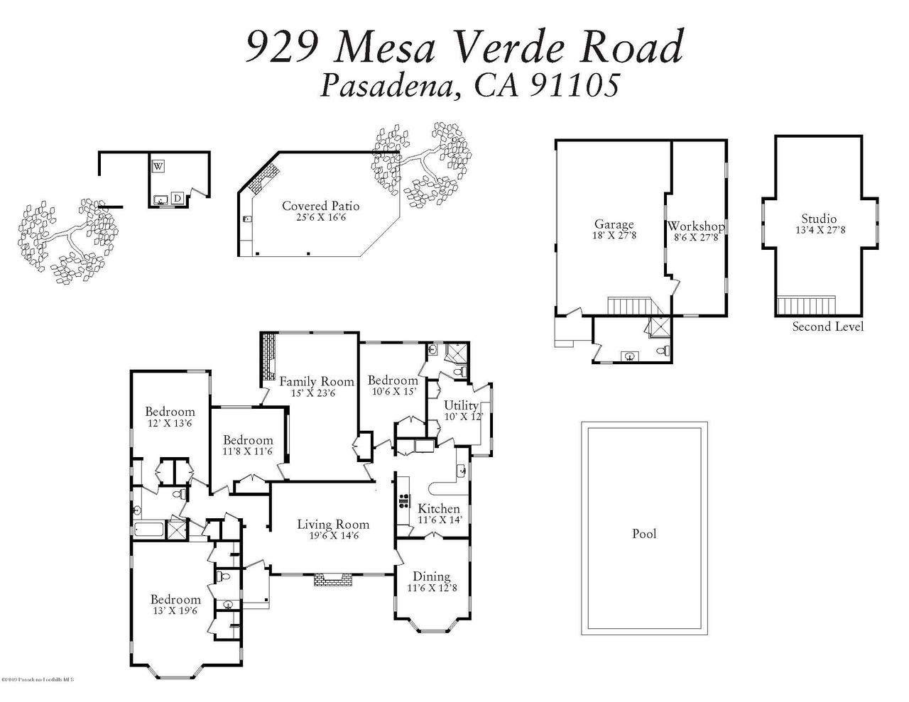 929 MESA VERDE, Pasadena, CA 91105 - Floor Plan